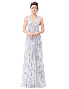 Vestido  Isís Luxo   Com Lantejoulas  Duplo V Neck