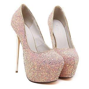 Sapato Salto Alto Premium Com Decoração  lantejoulas