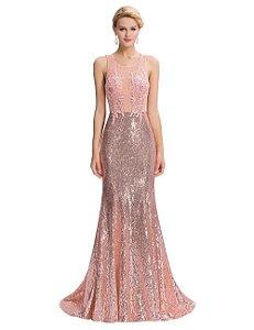 Vestido Sereia Luxo Rosa Decoração Lantejoulas Lace Robe de Soiree