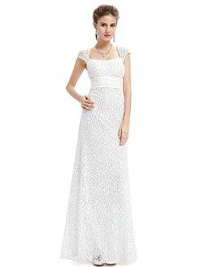 Vestido Bella  Elegante  Rendado Gola Quadrada