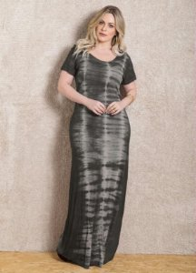 Vestido Longo Plus Size Tie Dye Cinza