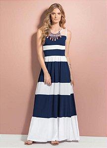 Vestido Maxi Longo Listrado Azul e Branco