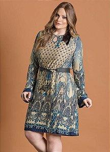 Vestido Plus Size Fluído Cashmere Azul