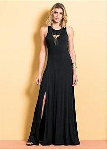 Vestido Longo Preto Com Fenda Lateral