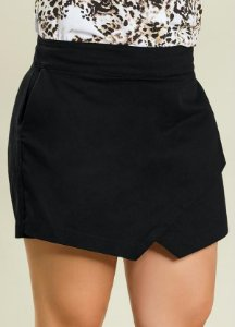 Short Saia Plus Size Preto Assimétrico