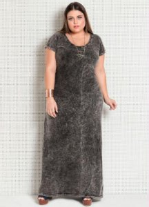 Vestido Longo Plus Size Marmorizado