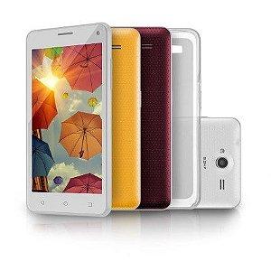 Smartphone MS50 Branco Colors QuadCore Dual Cam 8MP + 5MP 16