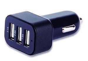 Carregador Automotivo com 3 Saídas USB 3.1A mini/micro/ipho