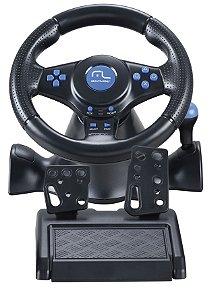 Volante Azul Racer 3 em 1 para PS2, PS3 e PC Multilaser - JS