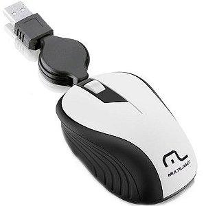 Mouse Multilaser Retrátil Emborrachado Branco USB MO234