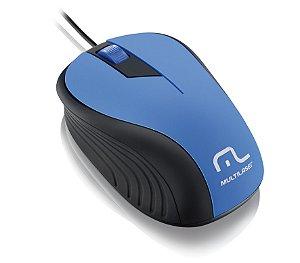 Mouse Emborrachado Azul E Preto Multilaser - MO226