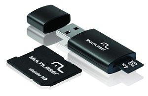 Cartão de Memória Multilaser MicroSD Card c/ Adaptador SD + Leitor USB 3 em 1 - 4GB - MC057