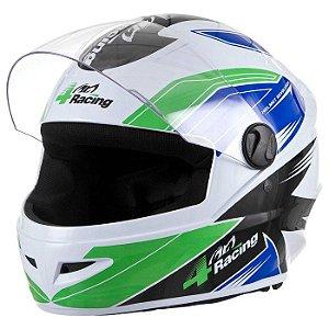 Capacete 4 Racing (+ Viseira Cromada) Verde/Azul   60 Pro To