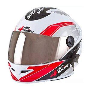 Capacete 4 Racing (+ Viseira Cromada) Vermelho/Cinza   56 Pr