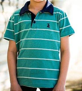 Camisa Polo Infantil Estampada Manga Curta Azul