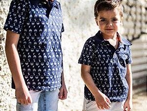 Camisa Polo Infantil Caveira Manga Curta