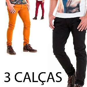 3 Calças Jeans Skinny  Rota 77