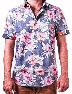 Camisa Florida Avesso Manga Curta Caribbean