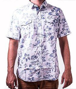 Camisa Florida Manga Curta Branca e Azul Miami Beach