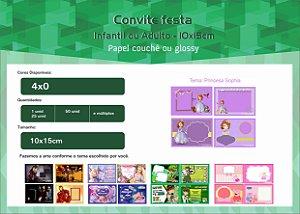 Convite festa infantil 10x15cm ou 10x7 cm
