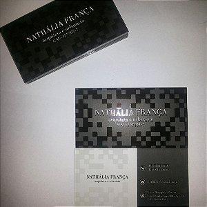 Cartão de visita - Colorido frente e verso ( 4 x 4 Cores CMYK) - Papel Couche 300 gr - Verniz Local