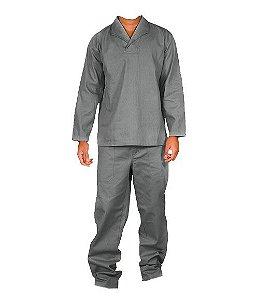 Uniforme de Manga curta Camisa /Calça Brim Cinza - Comec