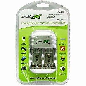 Carregador de Pilhas AA/ AAA/ 9V  FX-C03 - Flex