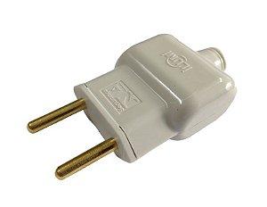 Plug Macho Reto Cinza 2P 10A  - Ilumi
