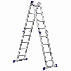 Escada Alumínio Profissional Articulada 16 Degraus 4x4 - Real Escadas