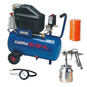 Compressor de Ar 7,5 Pés 24 Litros 110V  G2801Kbr2 com Kit - Gamma