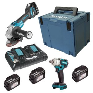Kit Chave Impacto + Esmerilhadeira 4 Bateria 18V Makita