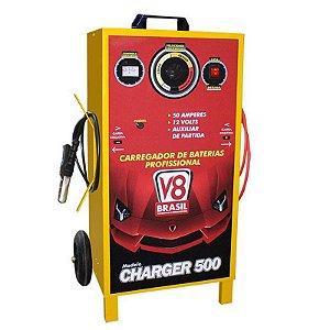 Carregador de Bateria Bivolt 50A 12V com Auxiliar 500 - V8