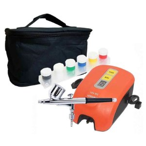 Kit Aerógrafo com Compressor 12W Tintas Completo A405 - Versa