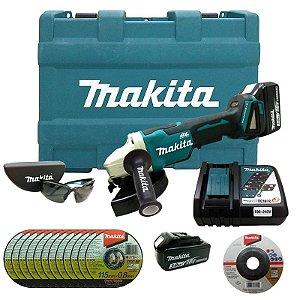 Esmerilhadeira Angular 4.1/2 DGA455RFE-P 18V 220V + Acessórios - Makita