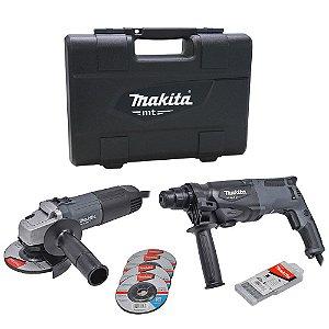 "Combo Martelete Rotativo + Esmerilhadeira 4.1/2"" 220V MTK0001GX1 - Makita"