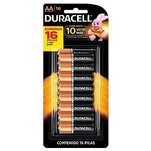 Pilha Pequena Alcalina Duracell  Tipo AA  Cartela com 16 unidades