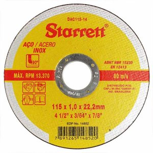 "Disco de Corte para Inox 4.1/2"" x 1,0mm x 7/8"" DAC115-14 - Starret"