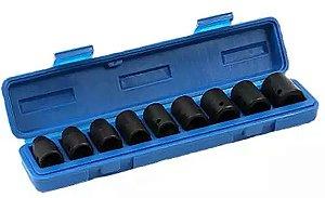 Jogo de Soquetes de Impacto com encaixe de 1/2 de 10 a 22mm com 9 peças - Waft