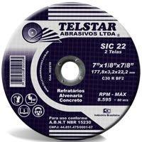 """Disco para Desbaste de 7"""" x 7/8 Refratário - Telstar"""