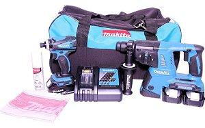 Kit Combo Martelete Combinado 13mm e Parafusadeira de Impacto 18V DLX2071M 220V - MAKITA