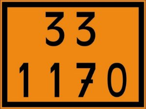 "Adesivo Numerologia ""33-1170"" Transporte de Alcool de 30x40cm - Plastcor"