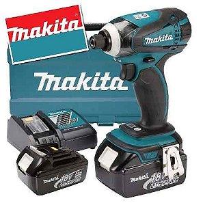 Parafusadeira de Impacto à Bateria 18V DTD146RFE Com Maleta 220V - Makita