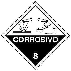 "Placa Simbologia ""Corrosivo 8"" de 30x30cm - Plastcor"