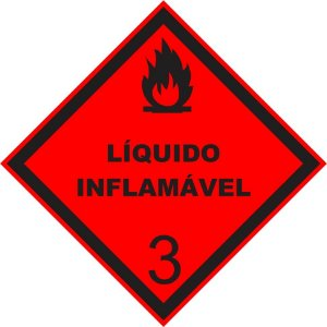 """Placa Simbologia """"Líquido Inflamável 3"""" de 30x30cm - Plastcor"""
