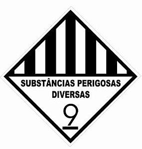"""Placa Simbologia """"Substâncias Perigosas Diversas 9"""" de 30x30cm - Plastcor"""