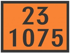 """Placa Numerologia """"23-1075"""" Transporte de Gás / GLP de 30x40cm - Plastcor"""