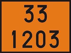 """Placa Numerologia """"33-1203"""" Transporte de Gasolina e Diesel de 30x40cm - Plastcor"""