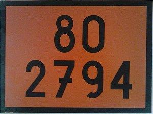 """Placa Numerologia """"80-2794"""" Transporte de Baterias de 30x40cm - Plastcor"""