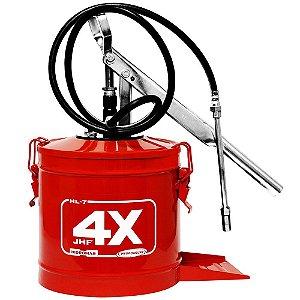 Bomba de Graxa (Engraxadeira) de 7kg Com Compactor e Mangueira de 1.3m - Hydronlubz