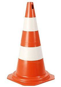 Cone de Sinalização de 50cm Laranja e Branco - Plastcor